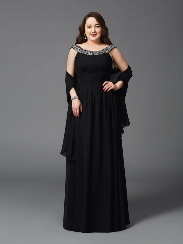Memorable Magic Princess Style Scoop Rhinestone Long Chiffon Plus Size Dresses