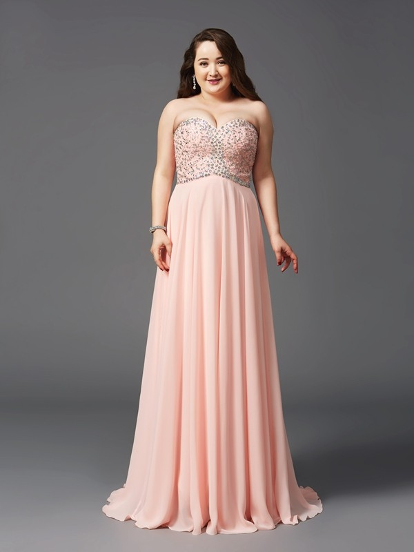 Defined Shine Princess Style Sweetheart Beading Long Chiffon Plus Size Dresses