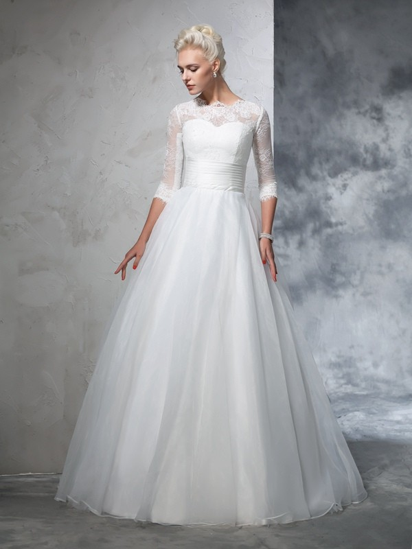 Embracing Grace Ball Gown Jewel Applique Long Organza Wedding Dresses