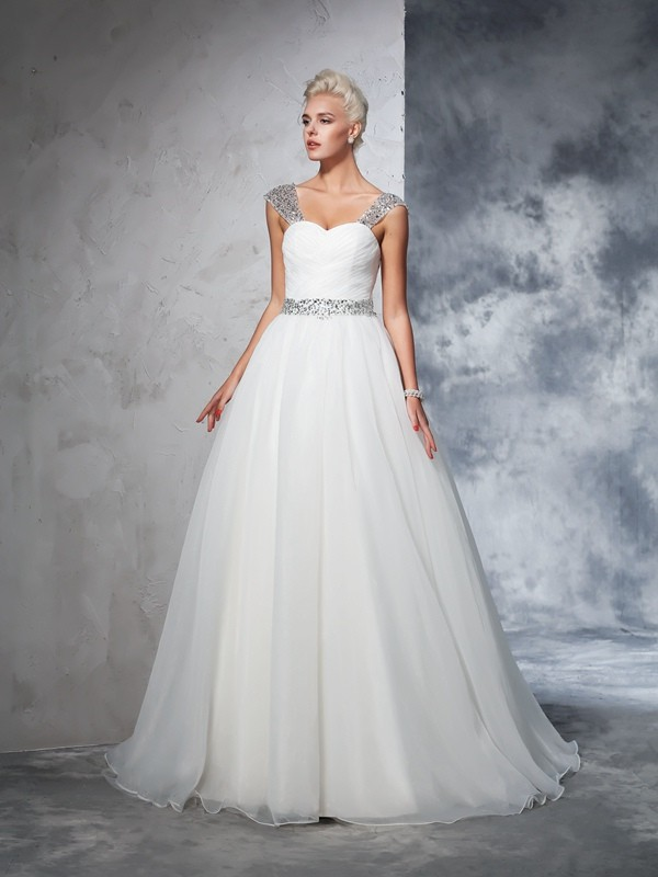 Modern Mood Ball Gown Straps Ruched Long Net Wedding Dresses