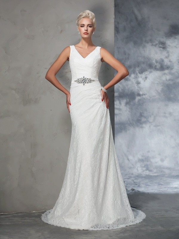 Savor the Occasion Mermaid Style V-neck Lace Long Lace Wedding Dresses