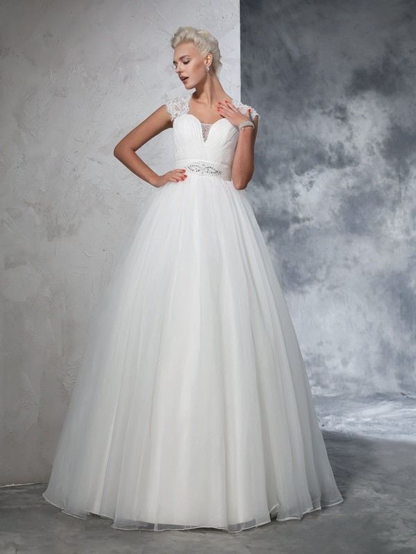 Aesthetic Honesty Ball Gown Sweetheart Ruched Long Tulle Wedding Dresses
