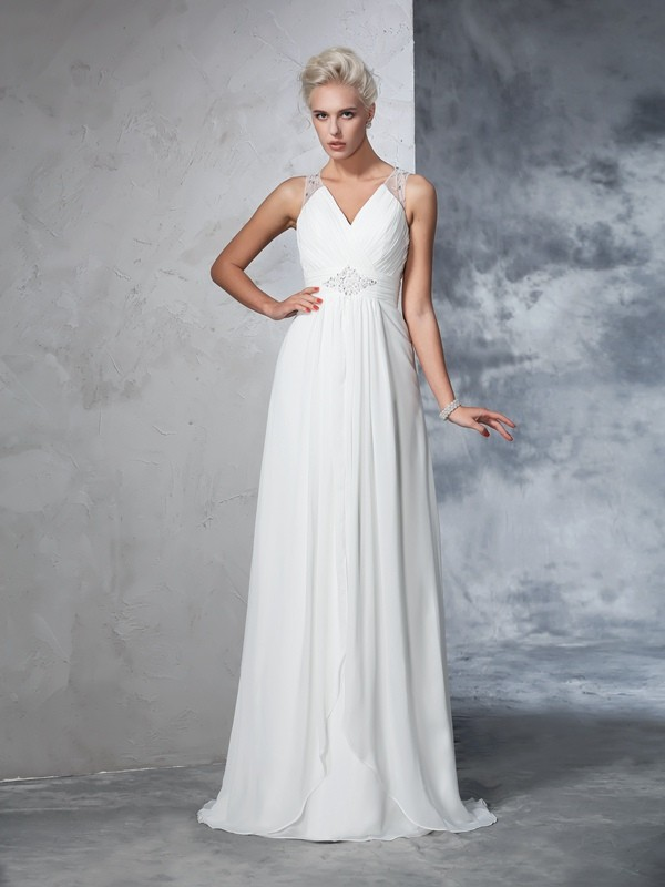 Pleasant Emphasis Princess Style V-neck Ruched Long Chiffon Wedding Dresses