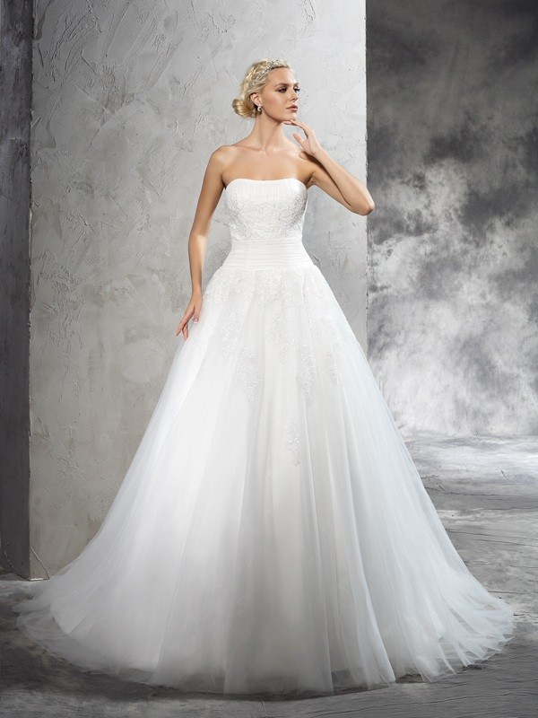 Sweet Sensation Ball Gown Strapless Applique Long Satin Wedding Dresses