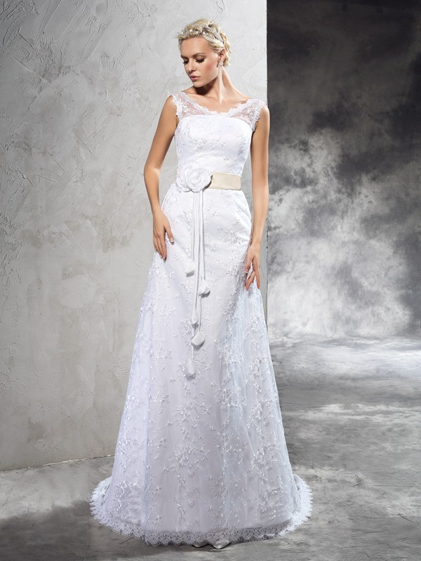 Confident Option Sheath Style Sheer Neck Hand-Made Flower Long Satin Wedding Dresses