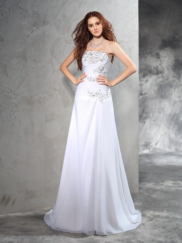 Open to Adoration Sheath Style Strapless Beading Long Chiffon Wedding Dresses