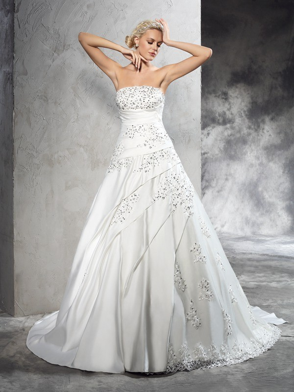 Stylish Refresh Ball Gown Strapless Beading Long Satin Wedding Dresses