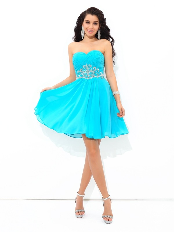 Fresh Picks Princess Style Sweetheart Pleats Short Chiffon Cocktail Dresses