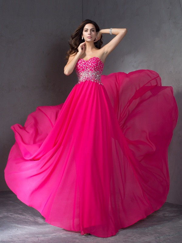 Treasured Reveries Princess Style Sweetheart Beading Long Chiffon Dresses