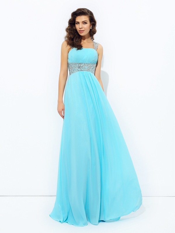 Desired Spotlight Princess Style Straps Sequin Long Chiffon Dresses