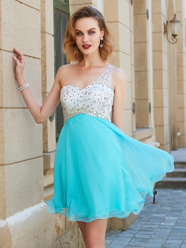 Beautiful You Princess Style One-Shoulder Beading Chiffon Short/Mini Dresses