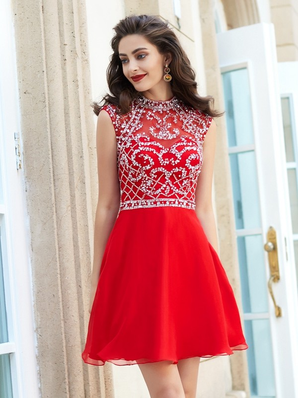 Savor the Occasion Princess Style High Neck Beading Short/Mini Chiffon Dresses
