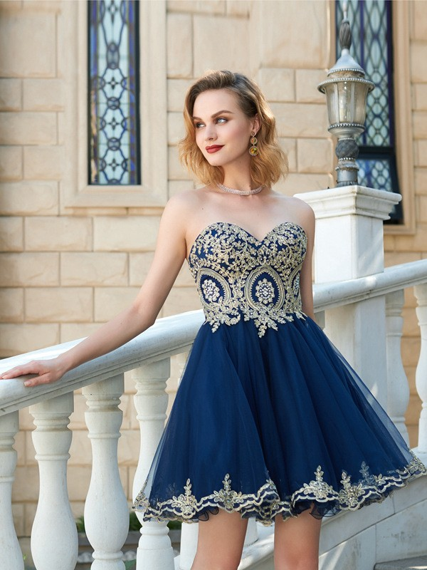 Pleased to be Me Princess Style Sweetheart Applique Short/Mini Net Dresses