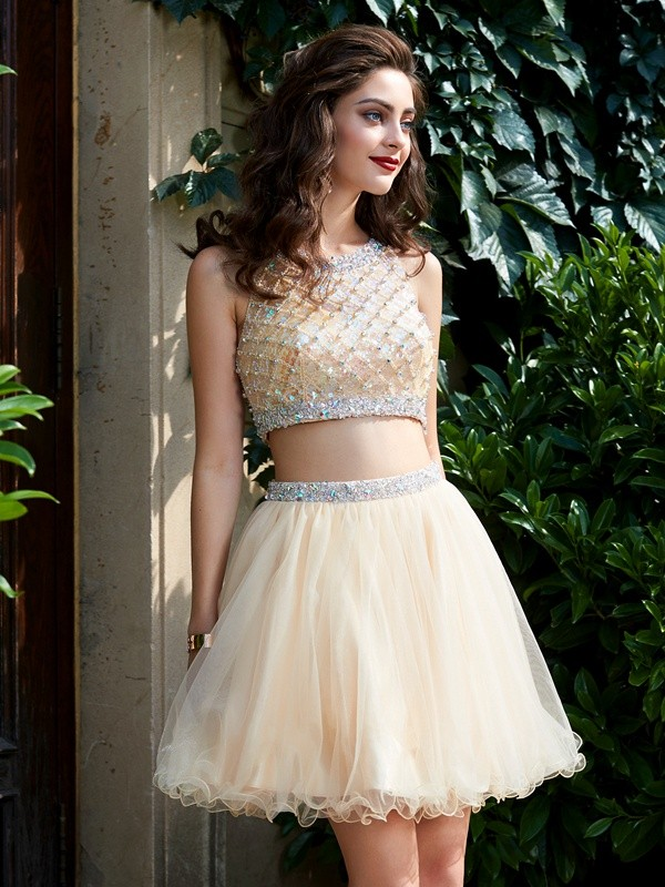 Treasured Reveries Princess Style Scoop Net Beading Short/Mini Two Piece Homecoming Dresses