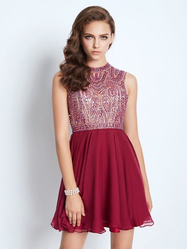 Limitless Looks Princess Style Jewel Chiffon Beading Short/Mini Dresses