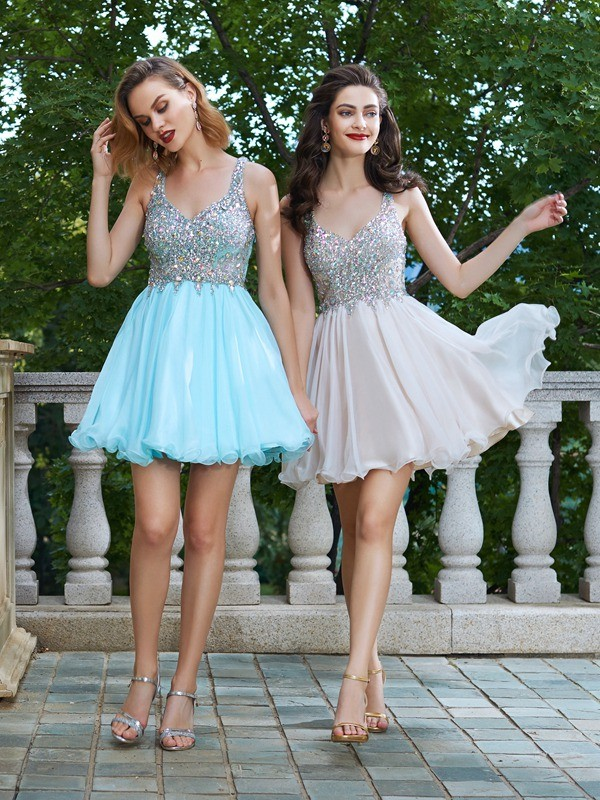 Too Much Fun Princess Style Rhinestone Straps Short/Mini Chiffon Dresses