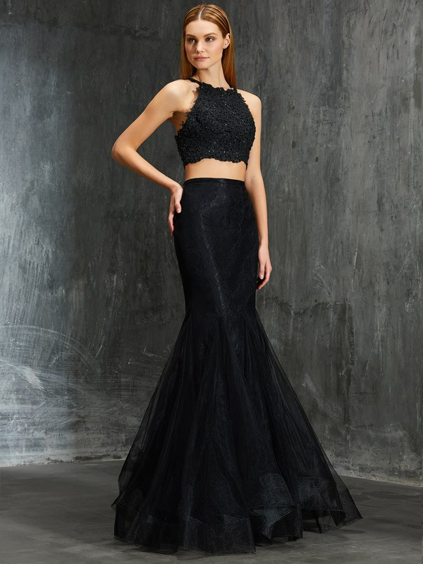 Too Much Fun Mermaid Style Spaghetti Straps Applique Floor-Length Net Two Piece Dresses