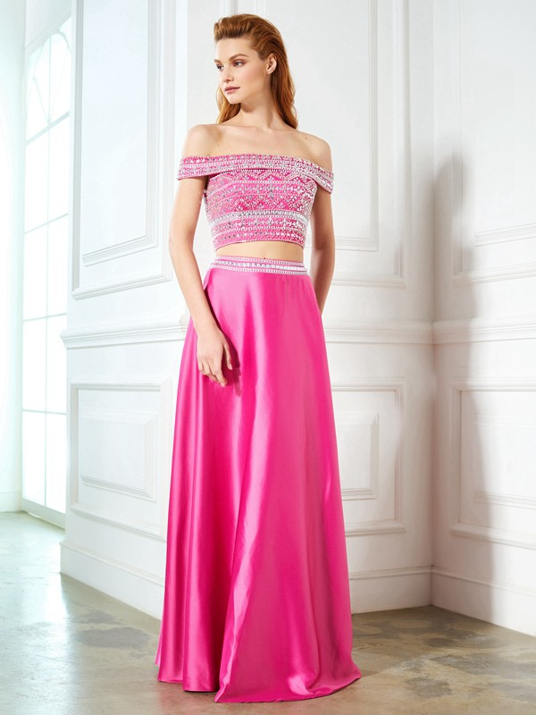 Cordially Delighted Princess Style Off-the-Shoulder Beading Satin Floor-Length Two Piece Dresses
