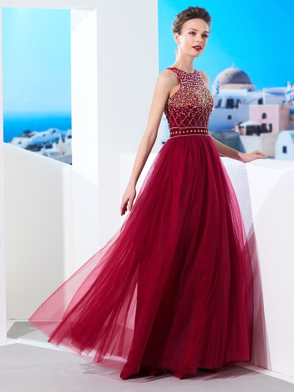 Naturally Chic Princess Style Scoop Floor-Length Beading Tulle Dresses