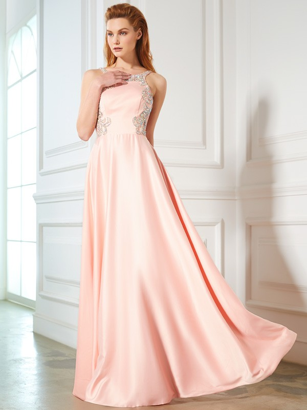 Pretty Looks Princess Style Scoop Beading Satin Floor-Length Dresses
