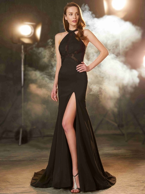 Desired Spotlight Sheath Style Jewel Sweep/Brush Train Beading Elastic Woven Satin Dresses