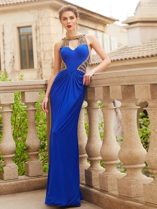 Sweet Sensation Sheath Style Scoop Floor-Length Beading Spandex Dresses
