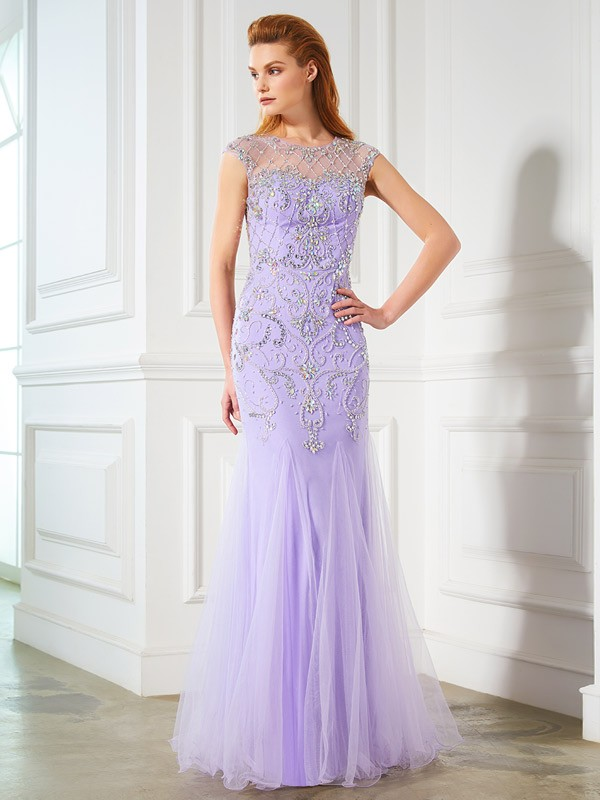 Confident Option Mermaid Style Scoop Beading Floor-length Tulle Dresses