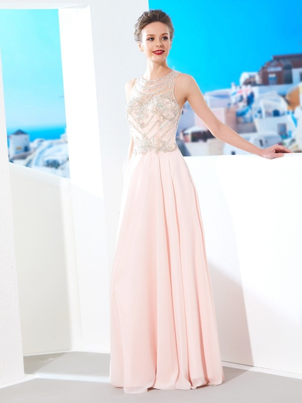 Modern Mood Princess Style Scoop Chiffon Crystal Floor-length Dresses