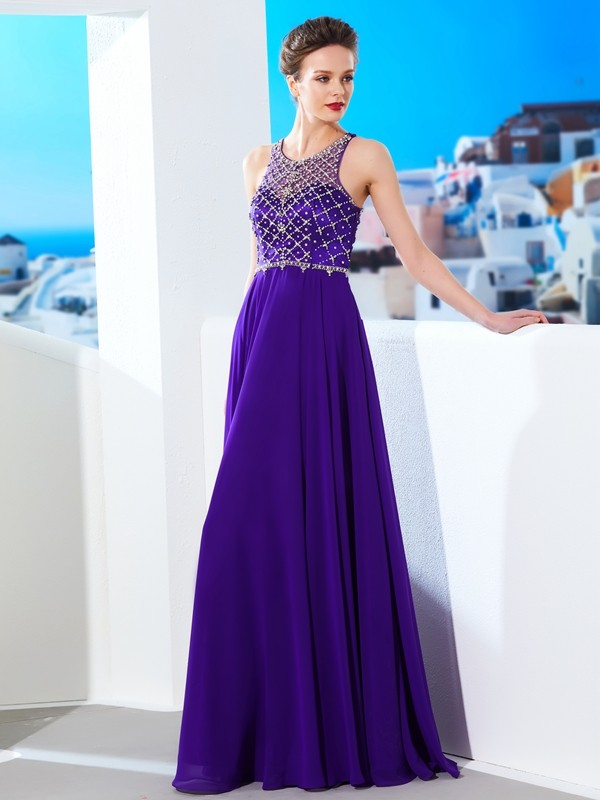 Intuitive Impact Princess Style Chiffon Scoop Crystal Floor-Length Dresses