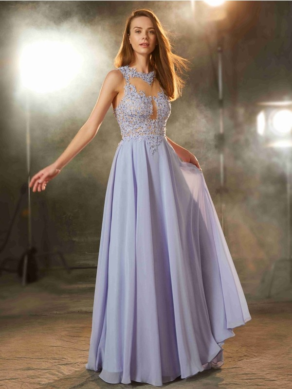 Sweet Sensation Princess Style Scoop Floor-Length Applique Chiffon Dresses