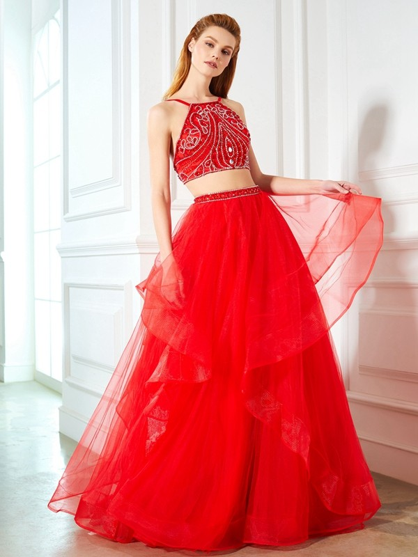 Voiced Vivacity Princess Style Spaghetti Straps Floor-Length Beading Tulle Two Piece Dresses