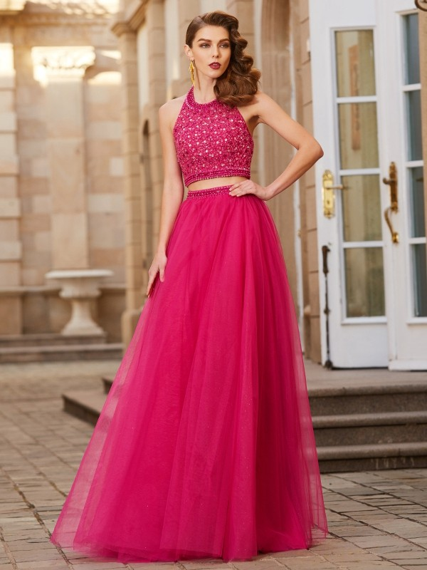 Automatic Classic Princess Style Halter Beading Tulle Floor-Length Two Piece Dresses
