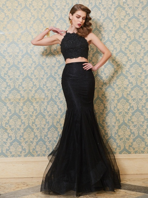 Sweet Sensation Mermaid Style Spaghetti Straps Applique Floor-Length Tulle Two Piece Dresses