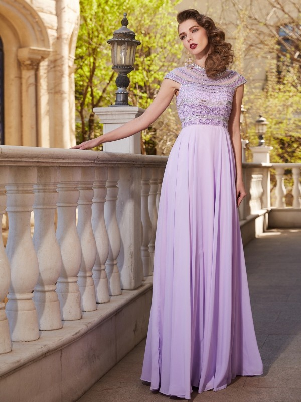 Cordially Delighted Princess Style Scoop Floor-Length Beading Chiffon Dresses