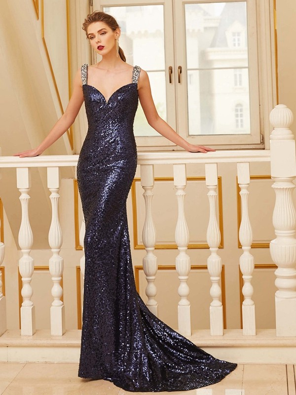 Open to Adoration Sheath Style V-neck Sweep/Brush Train Beading Sequins Dresses