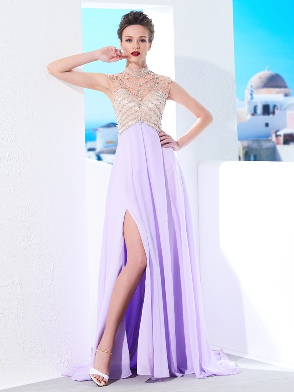 Time to Shine Princess Style High Neck Sweep/Brush Train Crystal Chiffon Dresses