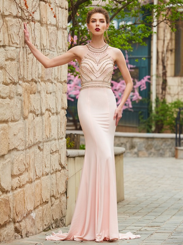 Yours Truly Sheath Style Scoop Sweep/Brush Train Beading Spandex Dresses