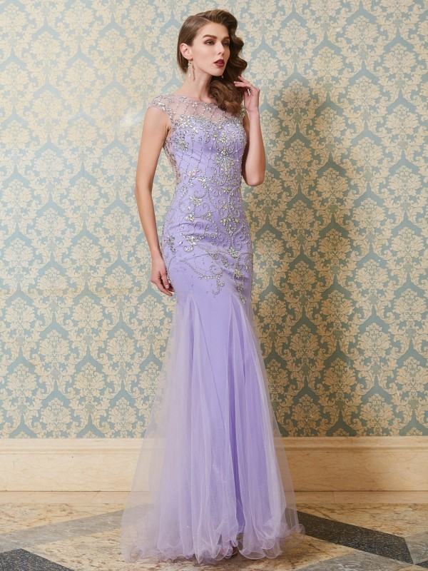 Lively Identity Mermaid Style Scoop Beading Floor-length Tulle Dresses