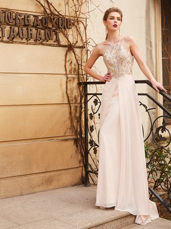Romantic Vibes Princess Style Spaghetti Straps Beading Sweep/Brush Train Chiffon Dresses