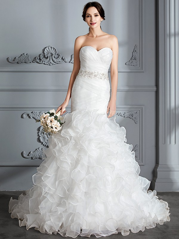 Comfortably Chic Mermaid Style Sweetheart With Ruffle Sweep/Brush Train Satin Wedding Dresses