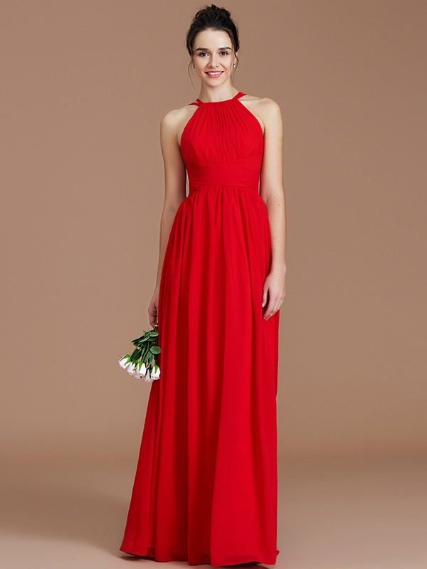 Efflorescent Dreams Princess Style Halter With Ruched Floor-Length Chiffon Bridesmaid Dresses