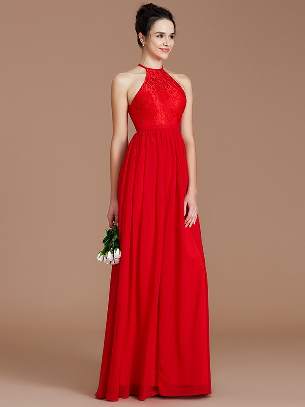 Voiced Vivacity Princess Style Halter With Lace Floor-Length Chiffon Bridesmaid Dresses