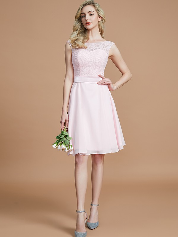 Beautiful You Princess Style Bateau With Lace Short/Mini Chiffon Bridesmaid Dresses