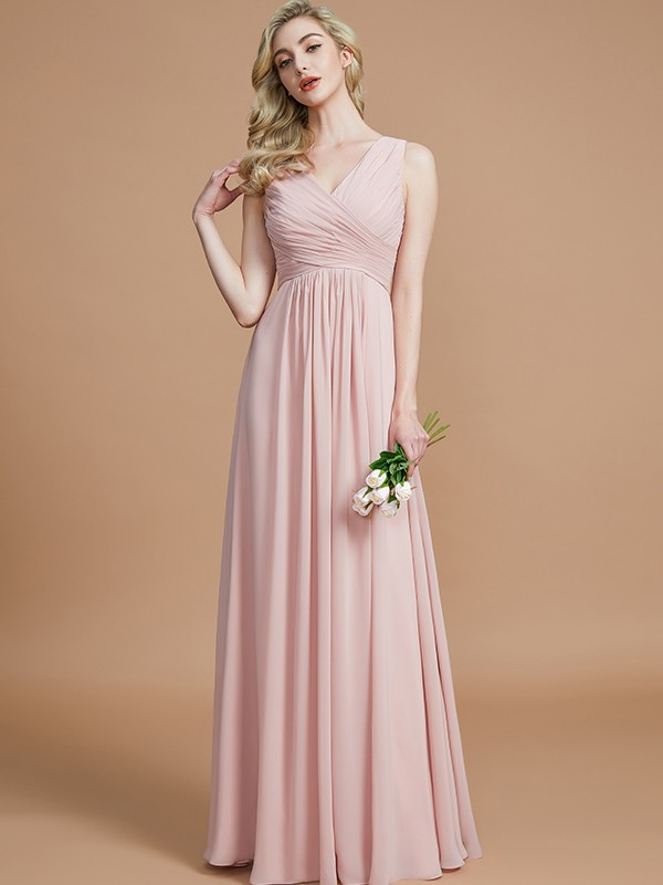 Easily Adored Princess Style V-neck With Ruched Floor-Length Chiffon Bridesmaid Dresses
