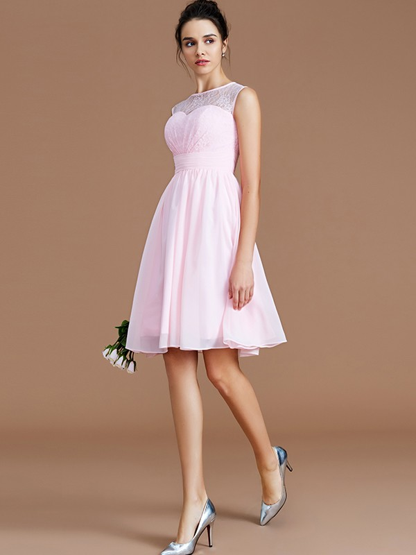 Styled to Smile Princess Style Sweetheart With Lace Short/Mini Chiffon Bridesmaid Dresses