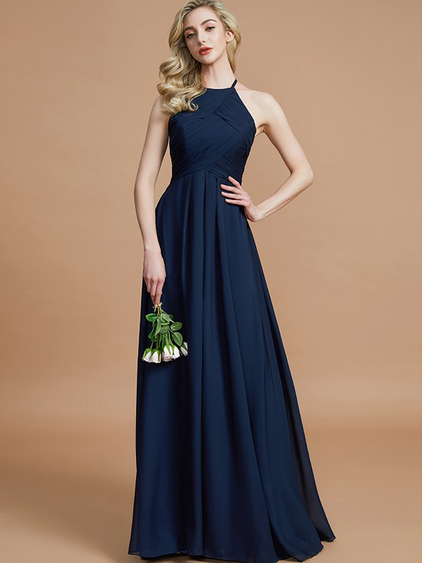 Modern Mood Princess Style Halter With Ruched Floor-Length Chiffon Bridesmaid Dresses