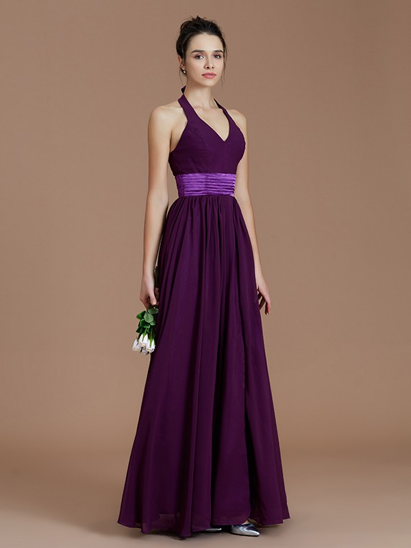 Pretty Looks Princess Style Halter With Sash/Ribbon/Belt Floor-Length Chiffon Bridesmaid Dresses