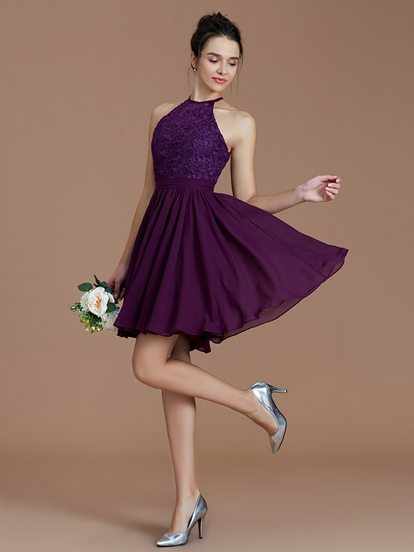 First Impressions Princess Style Halter With Lace Short/Mini Chiffon Bridesmaid Dresses