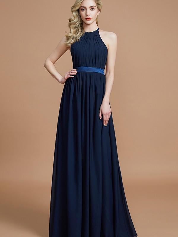 Savor the Occasion Princess Style Halter With Ruched Floor-Length Chiffon Bridesmaid Dresses