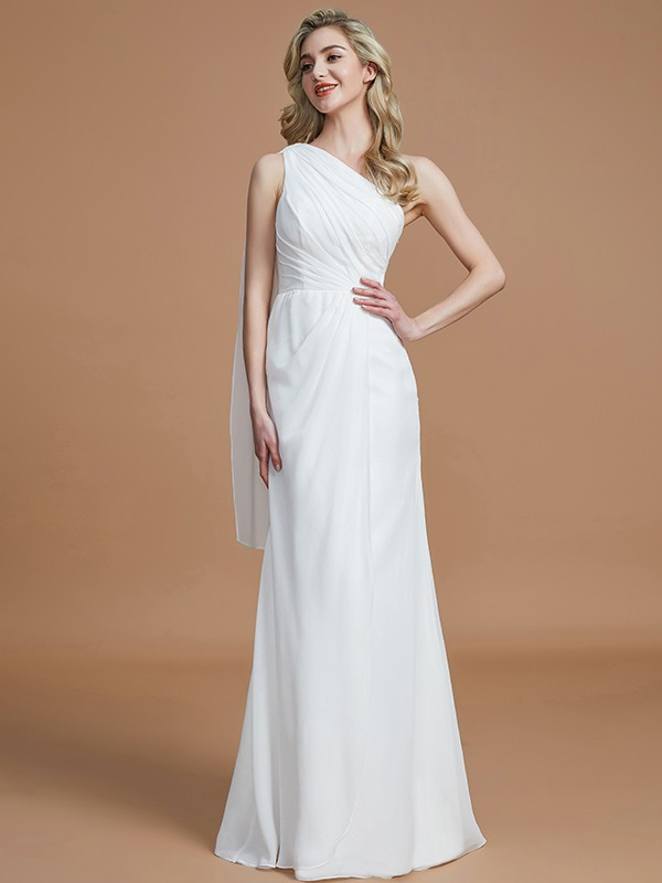 Aesthetic Honesty Sheath Style One-Shoulder Floor-Length Chiffon Bridesmaid Dresses